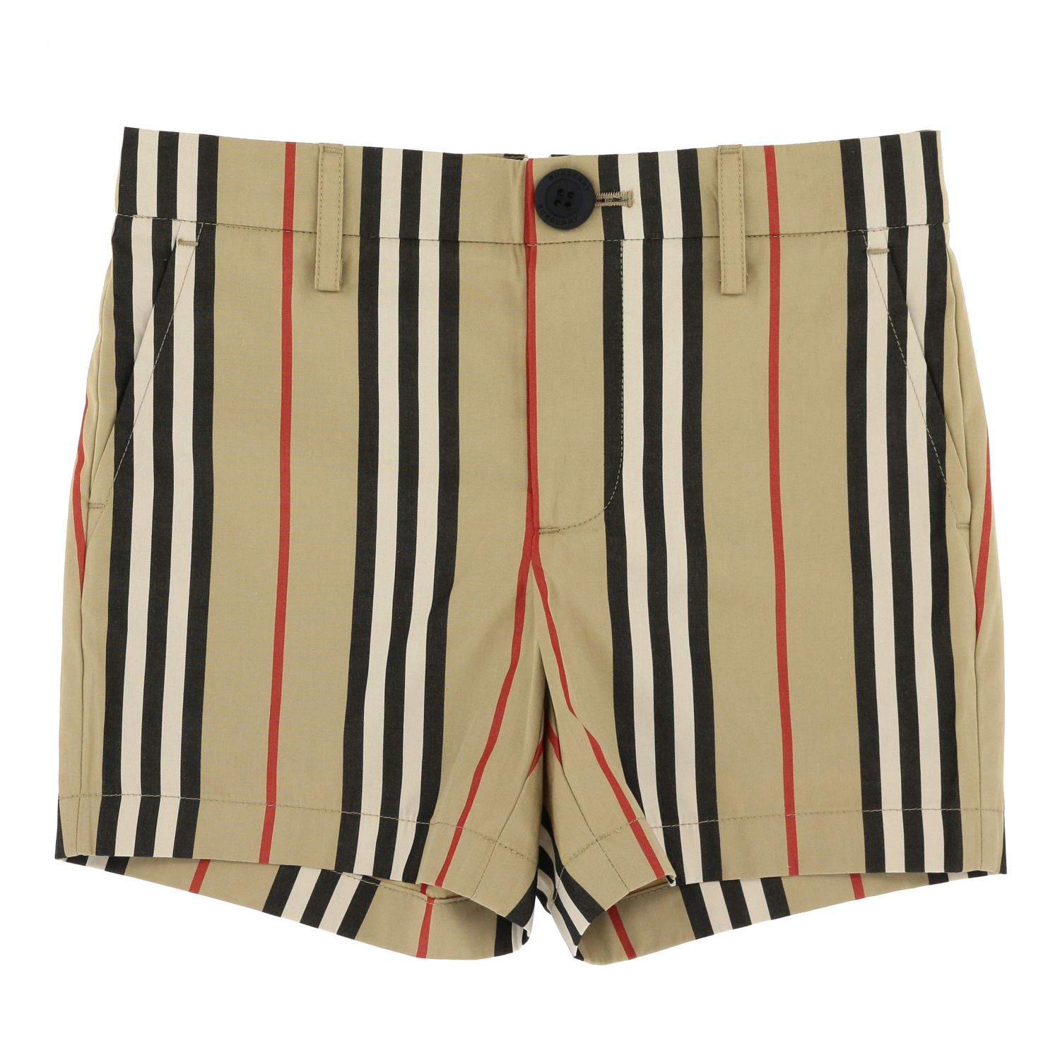 Classic vintage striped Burberry shorts beige 1