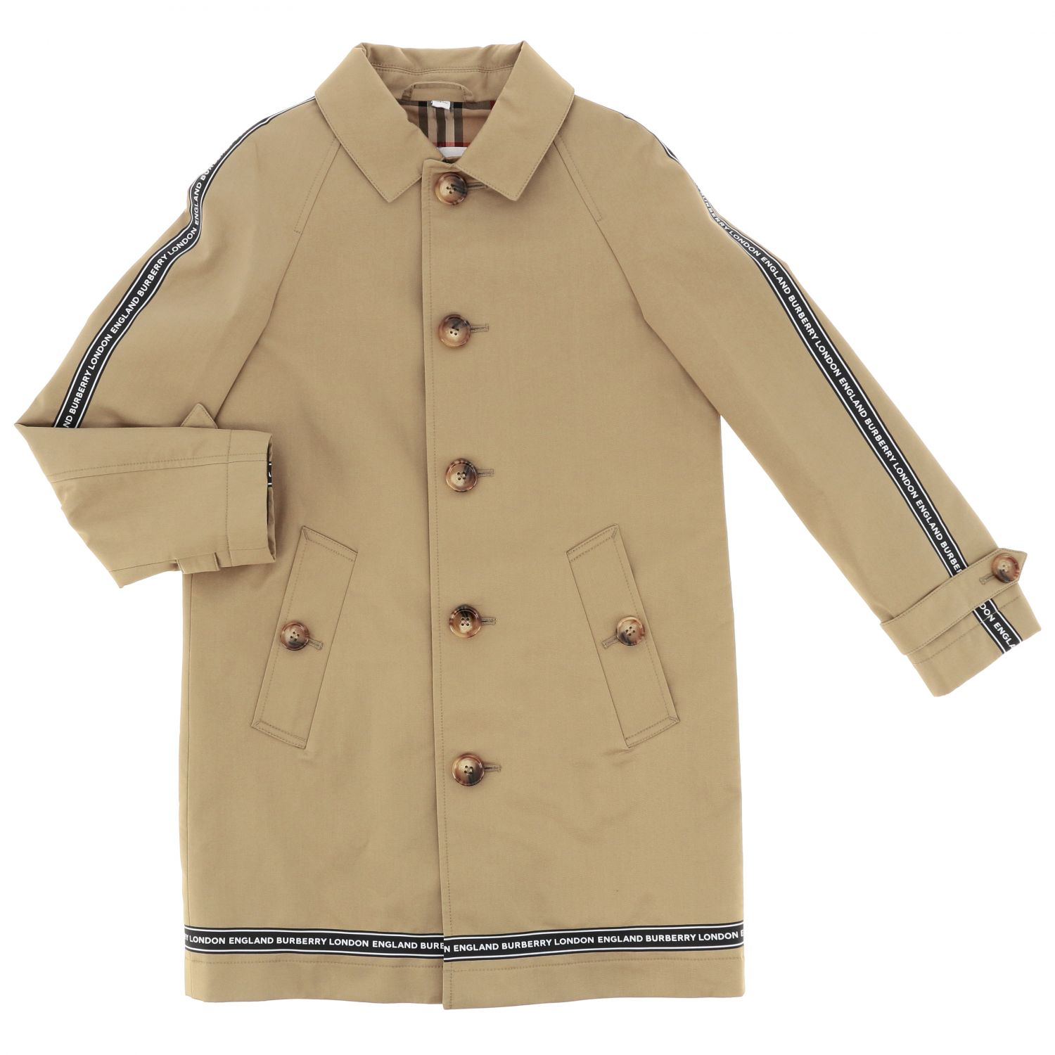 Burberry cotton coat with logoed bands beige 1