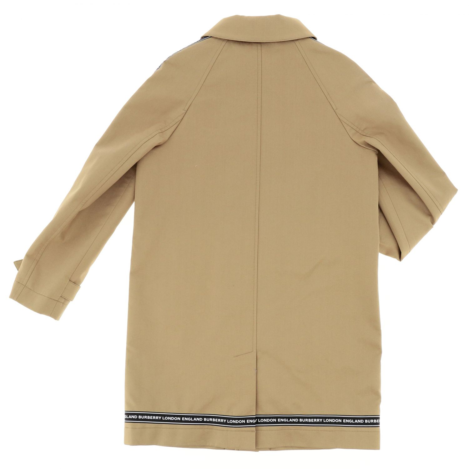 Burberry cotton coat with logoed bands beige 2