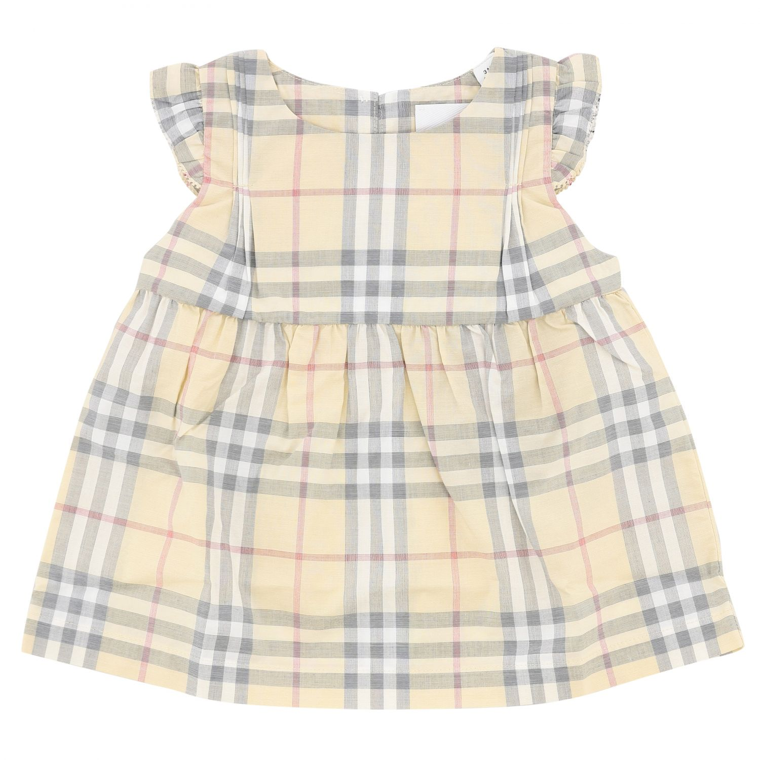 Burberry cotton dress with tartan motif and bloomer shorts beige 1