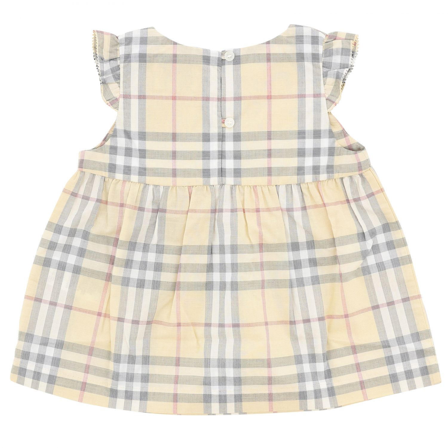 Burberry cotton dress with tartan motif and bloomer shorts beige 2