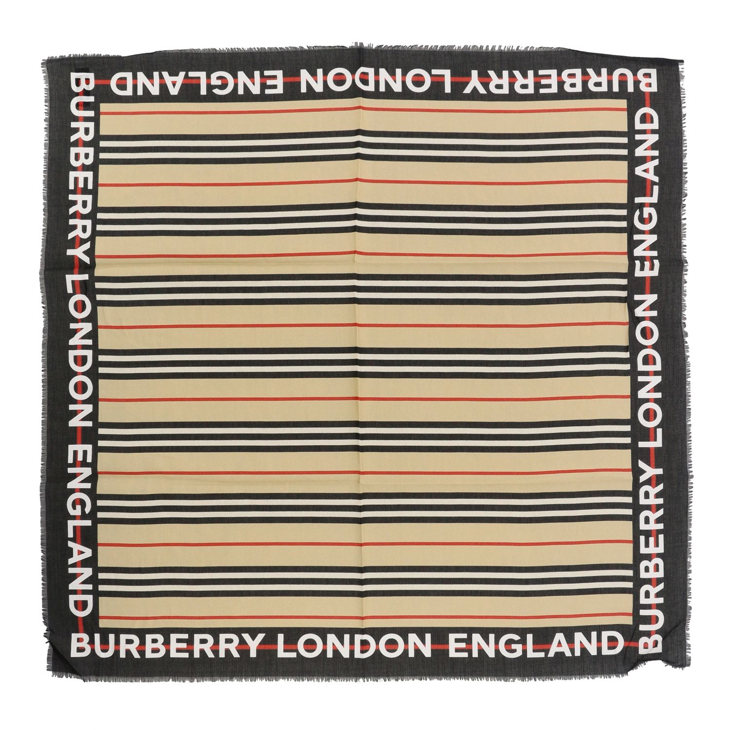 Neck scarf Burberry: Burberry scarf with striped pattern and logo beige 1