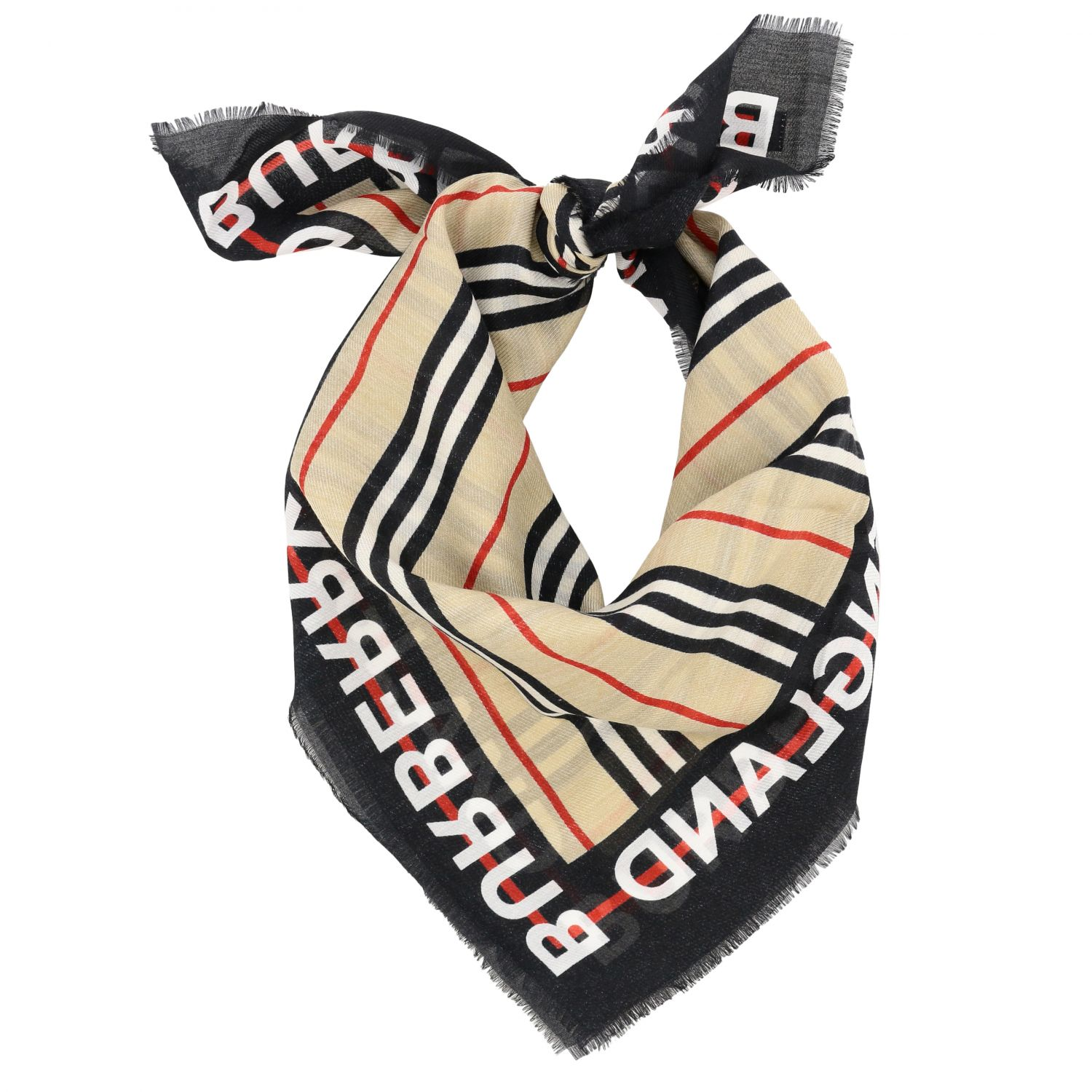 Neck scarf Burberry: Burberry scarf with striped pattern and logo beige 2