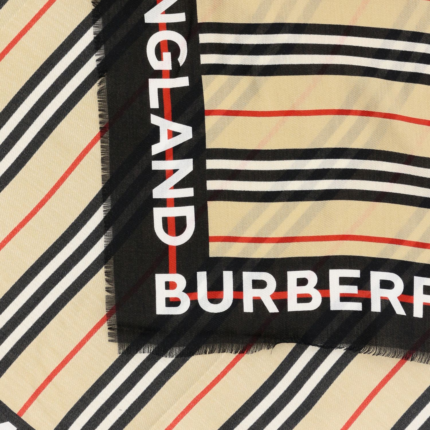 Neck scarf Burberry: Burberry scarf with striped pattern and logo beige 3