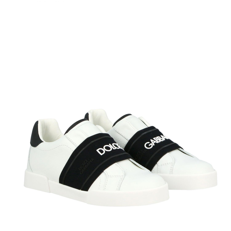 Baskets en cuir Dolce & Gabbana avec bande et logo noir 2