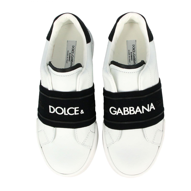Baskets en cuir Dolce & Gabbana avec bande et logo noir 3
