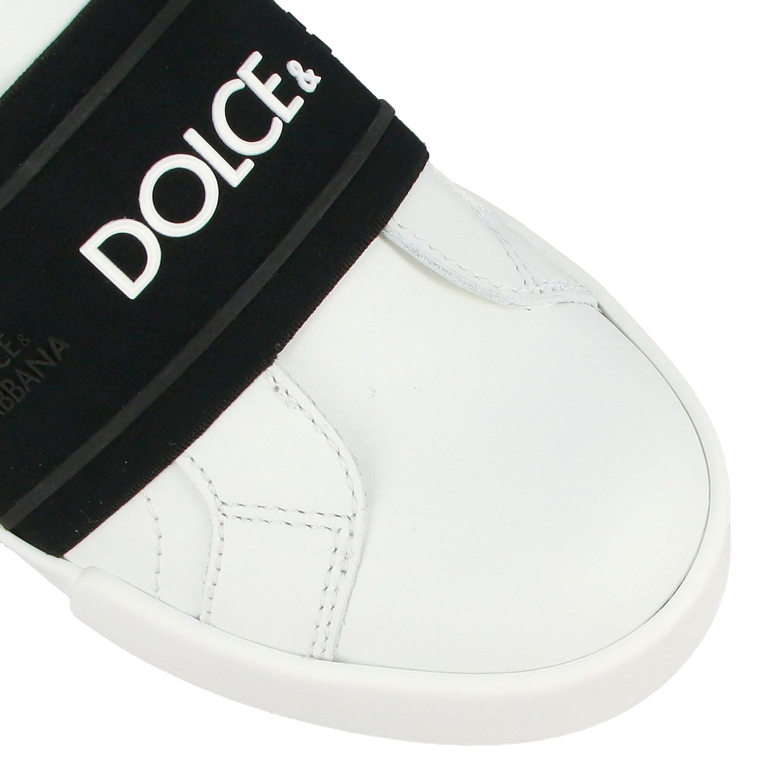 Baskets en cuir Dolce & Gabbana avec bande et logo noir 4