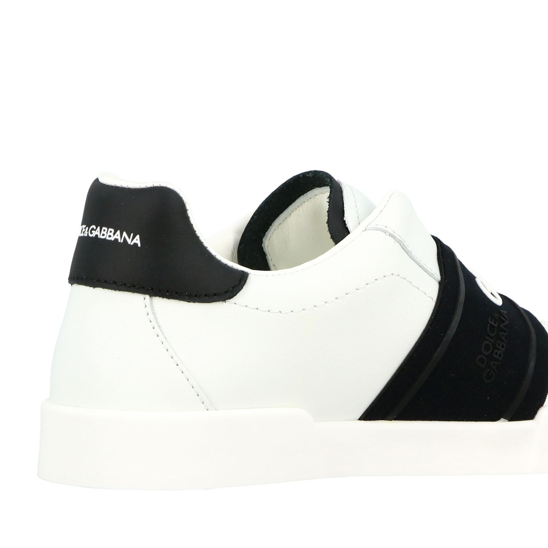 Baskets en cuir Dolce & Gabbana avec bande et logo noir 5