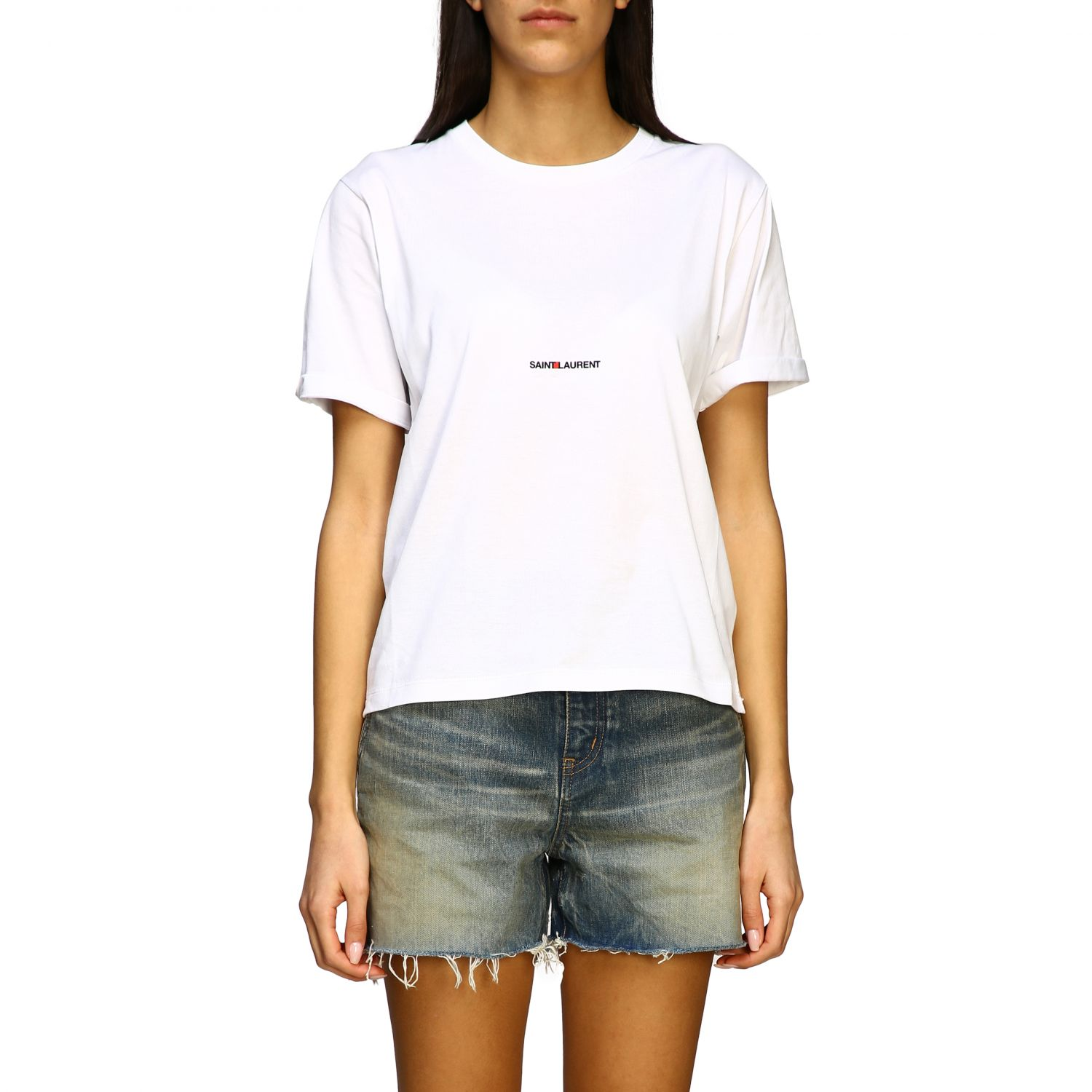 Saint Laurent T-Shirt mit Logo weiß 1