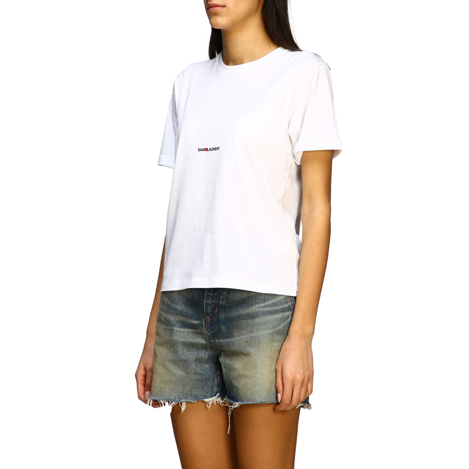 Saint Laurent T-Shirt mit Logo weiß 4