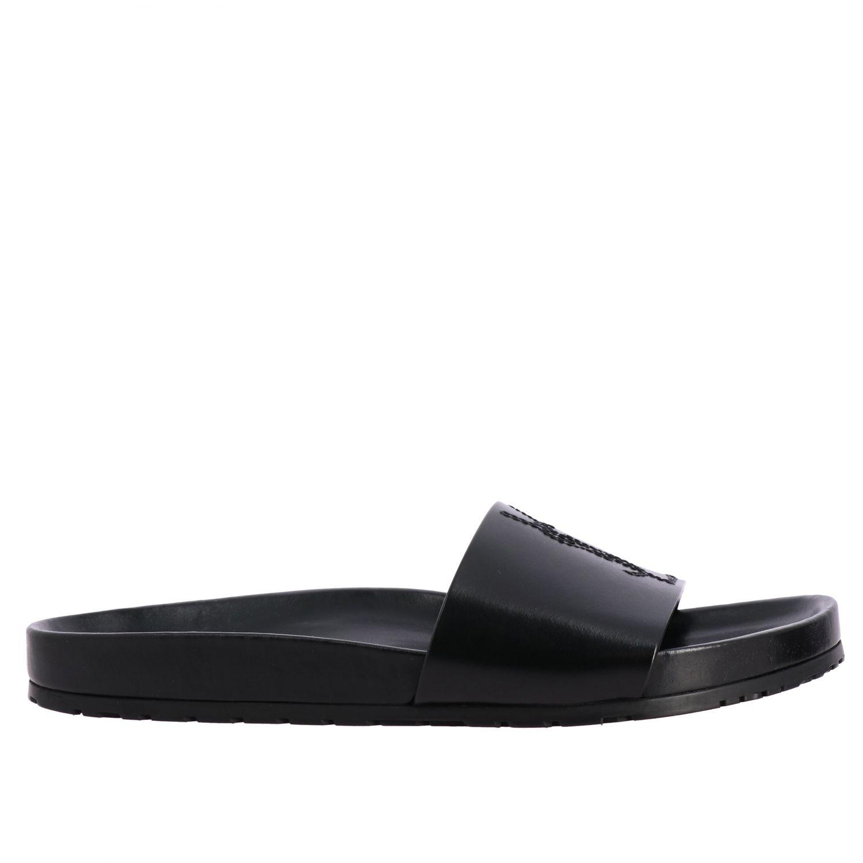 Sandalo Saint Laurent a fascia in pelle con monogramma YSL nero 1