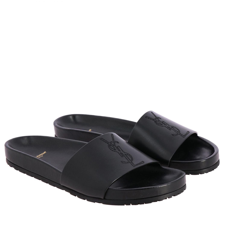 Sandalo Saint Laurent a fascia in pelle con monogramma YSL nero 2