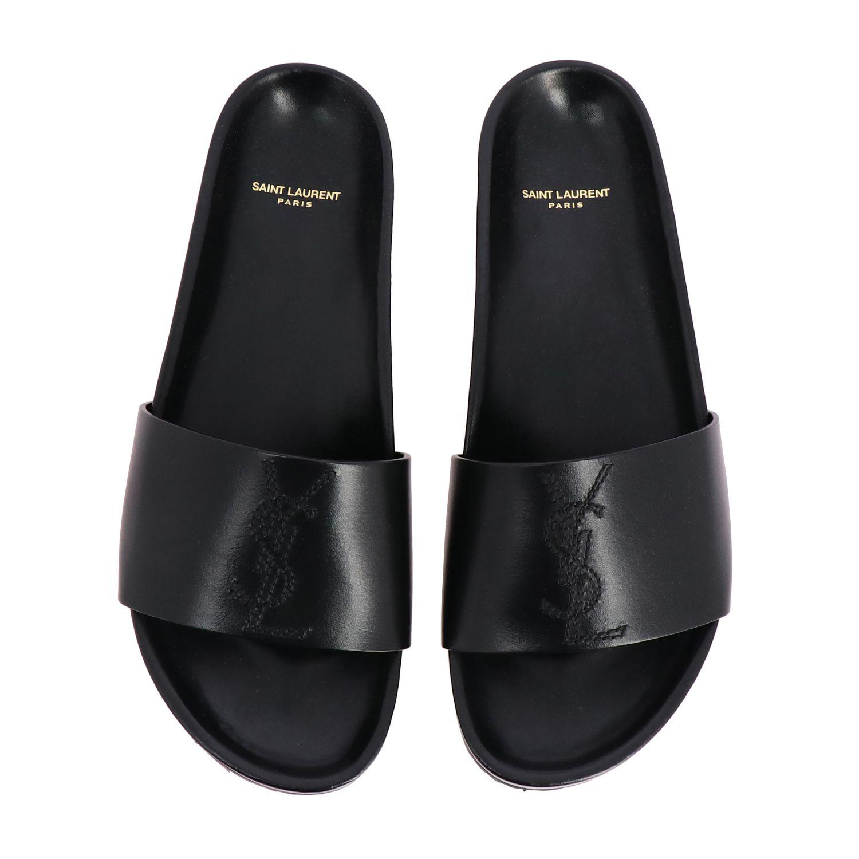 Sandalo Saint Laurent a fascia in pelle con monogramma YSL nero 3