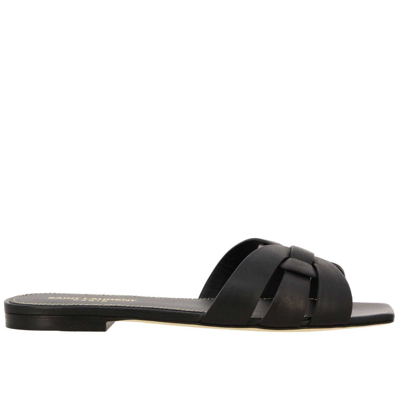 Sandalo Tribute Saint Laurent flat in pelle nero 1