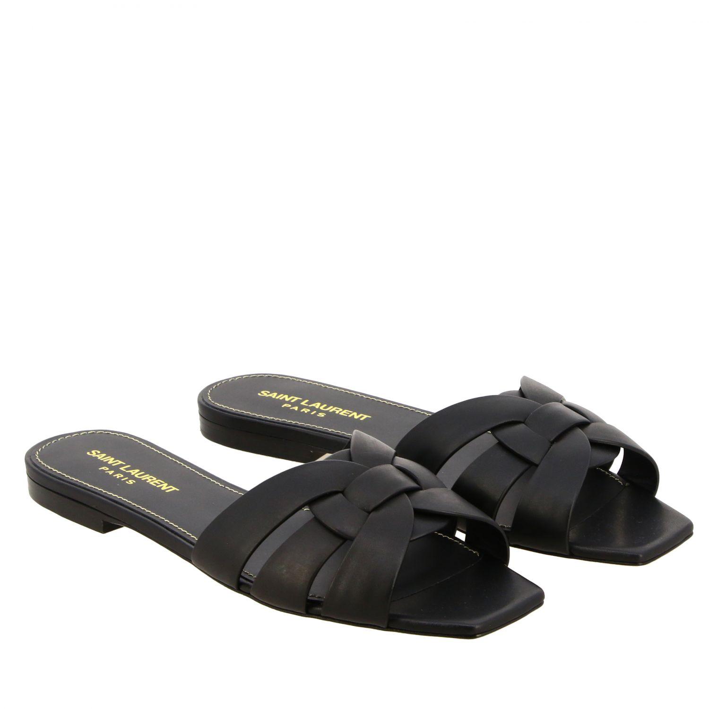 Sandalo Tribute Saint Laurent flat in pelle nero 2