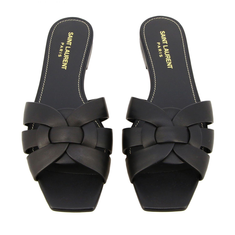 Sandalo Tribute Saint Laurent flat in pelle nero 3