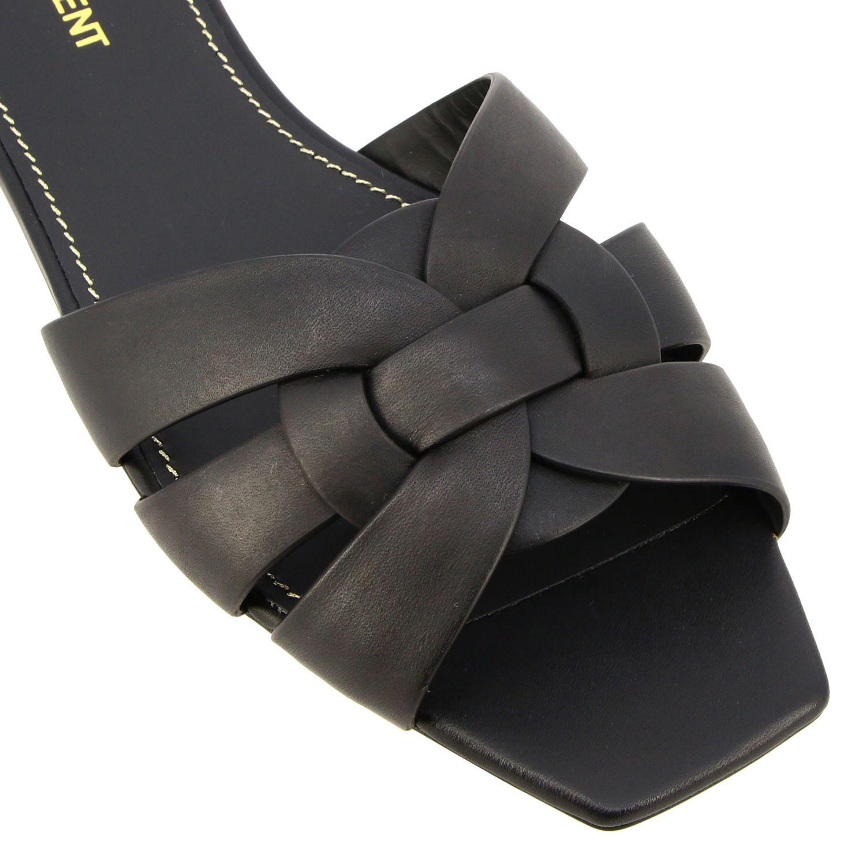 Sandalo Tribute Saint Laurent flat in pelle nero 4