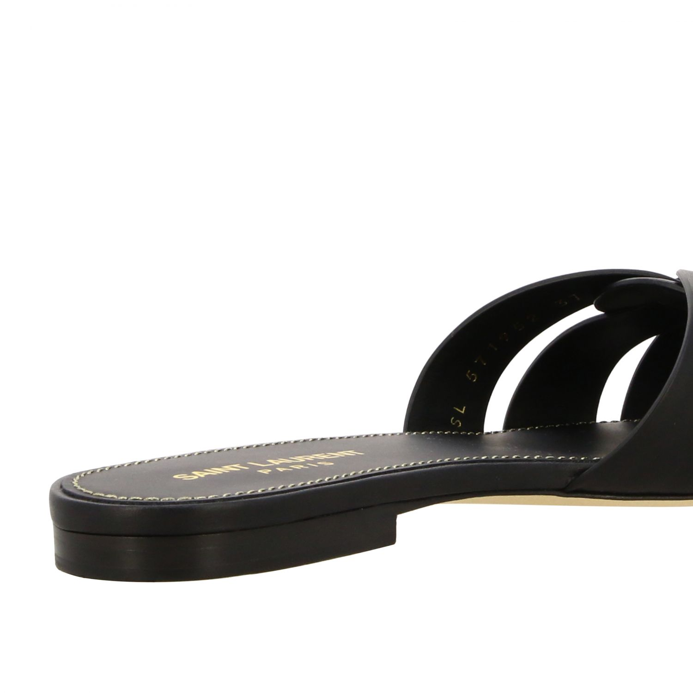 Sandalo Tribute Saint Laurent flat in pelle nero 5