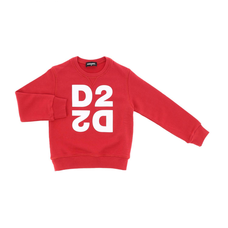 Maglia Dsquared2 Junior: Felpa Dsquared2 Junior a girocollo con logo rosso 1