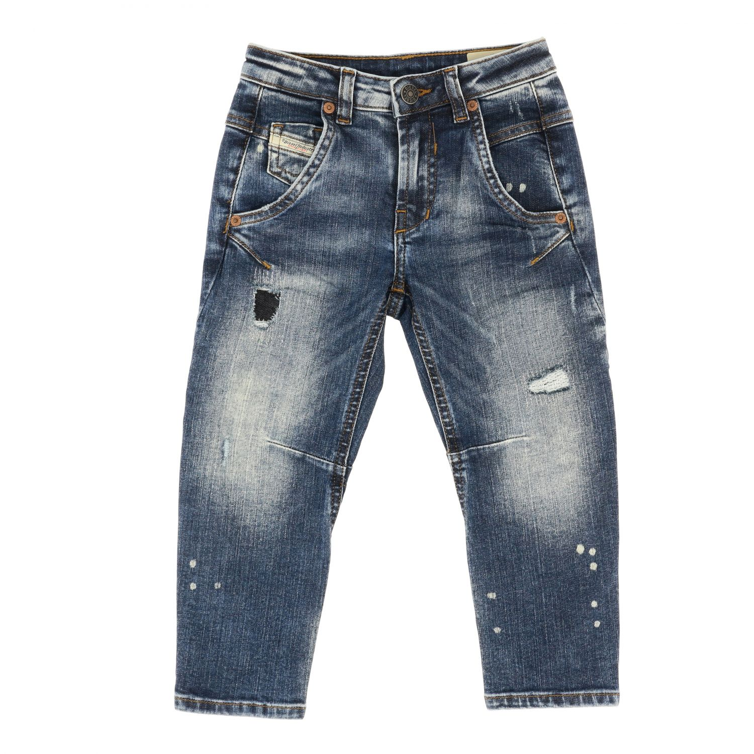 Diesel jeans in used denim with tears blue 1