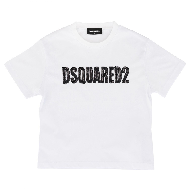 T-shirt Dsquared2 Junior a maniche corte con logo bianco 1