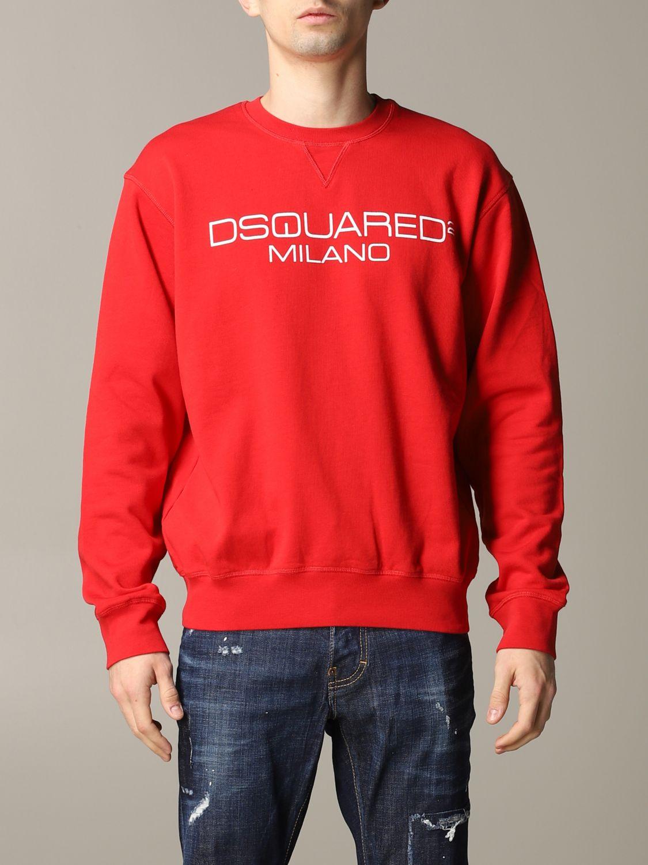 Felpa Dsquared2 a girocollo con logo rosso 1