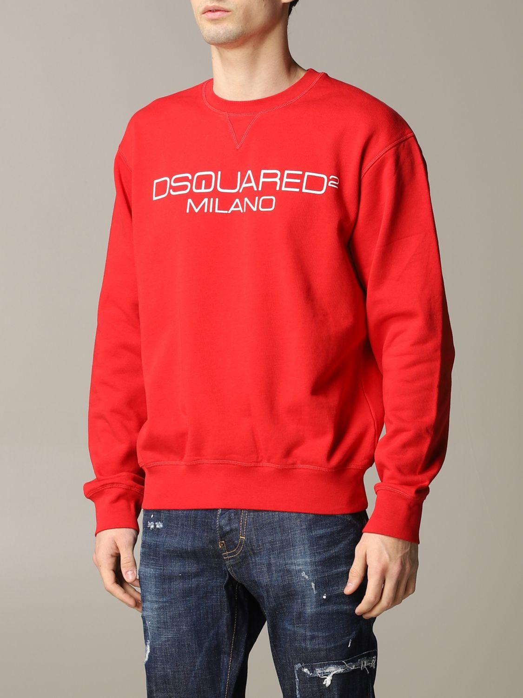 Felpa Dsquared2 a girocollo con logo rosso 4