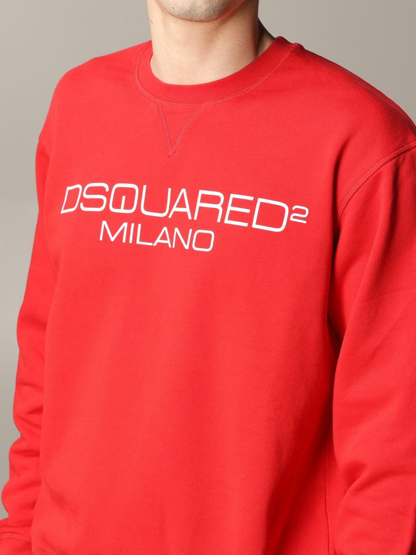 Felpa Dsquared2 a girocollo con logo rosso 5