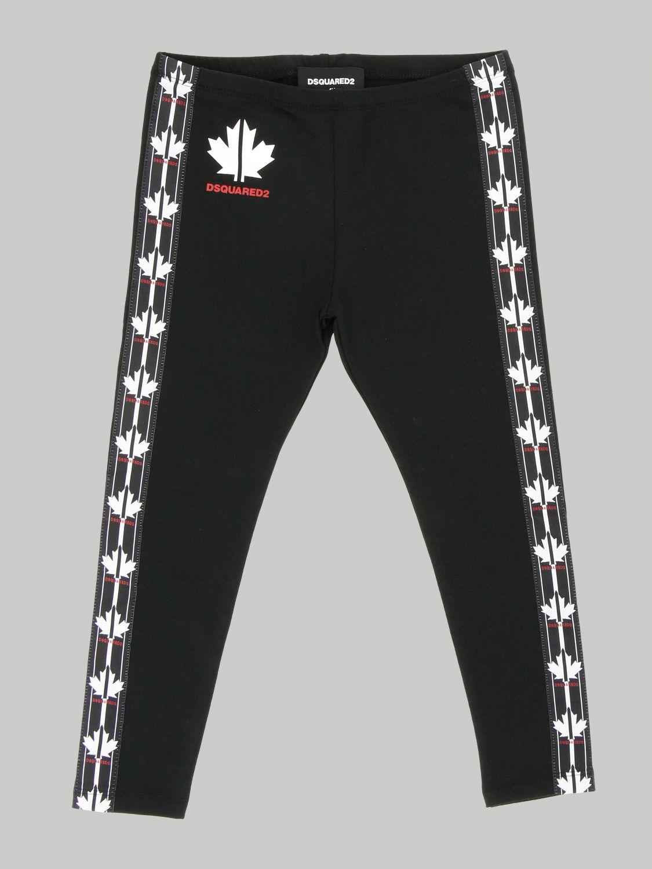 Pantalone Dsquared2 Junior: Leggings Dsquared2 Junior in tessuto stretch con bande logate nero 1