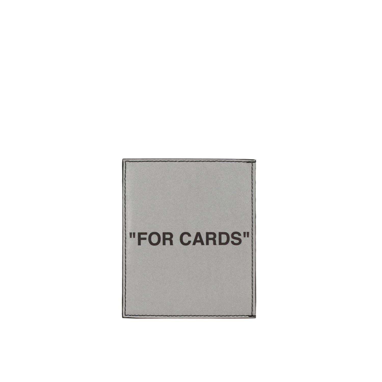 Off White Kartenetui aus zweifarbigem Leder mit