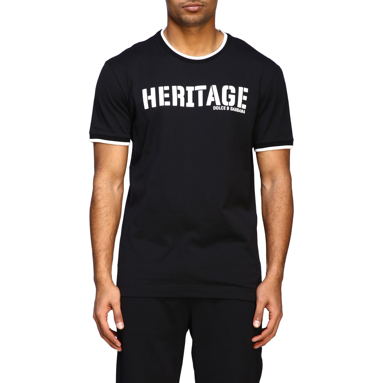 T-shirt Dolce & Gabbana: Dolce & Gabbana short-sleeved T-shirt with Heritage print black 1