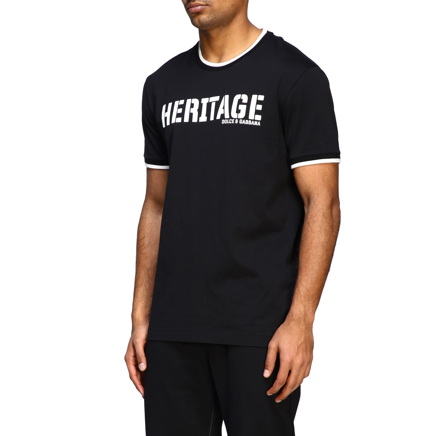 T-shirt Dolce & Gabbana: Dolce & Gabbana short-sleeved T-shirt with Heritage print black 4