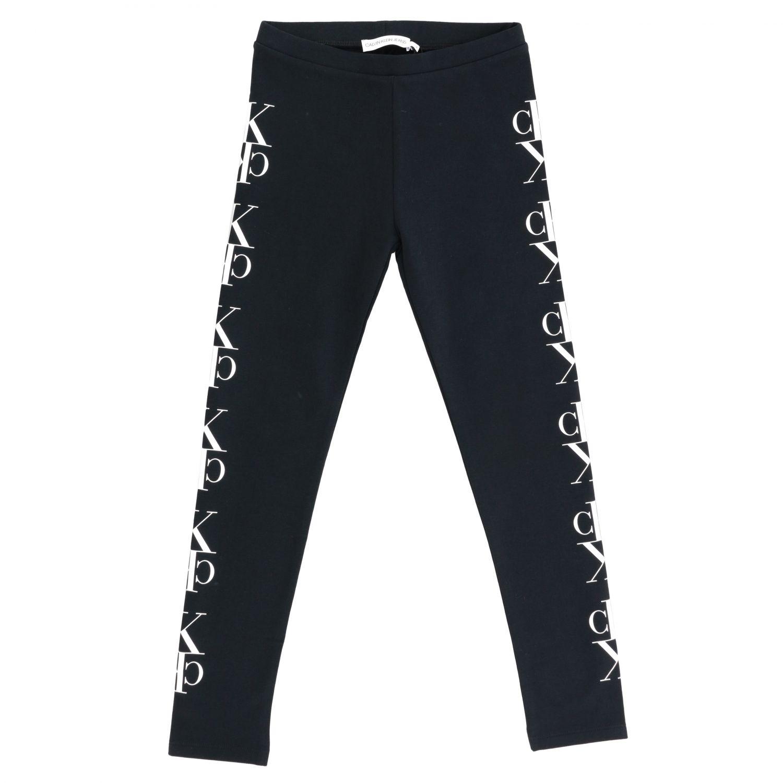 Pantalone Calvin Klein: Leggings Calvin Klein in tessuto stretch con monogramma CK nero 1