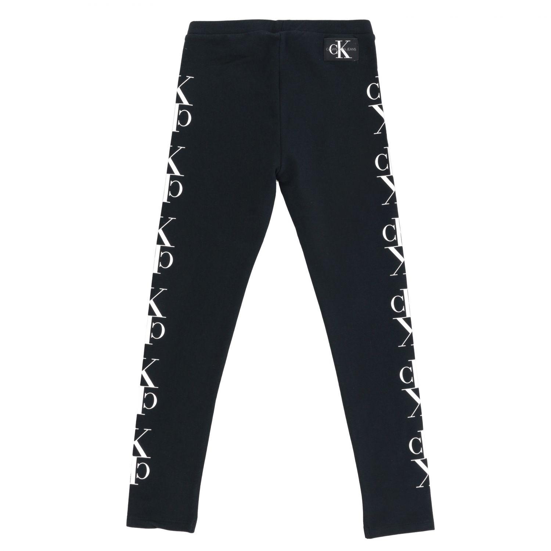 Pantalone Calvin Klein: Leggings Calvin Klein in tessuto stretch con monogramma CK nero 2