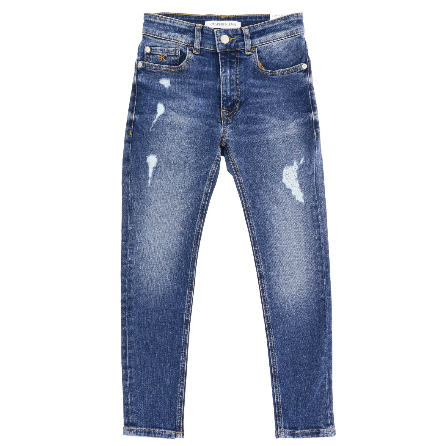 Calvin Klein jeans in used denim with tears blue 1