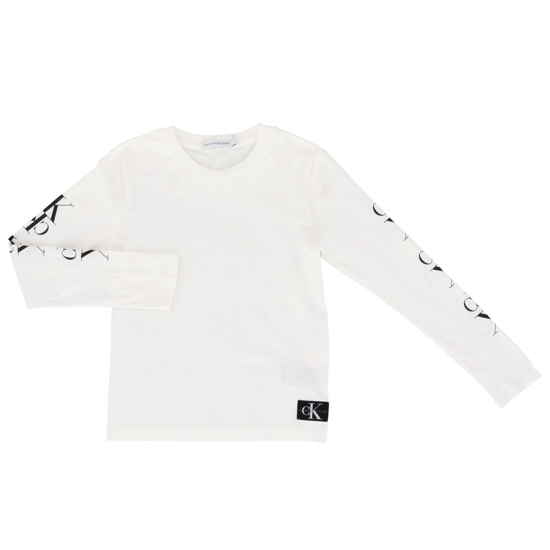 T-shirt Calvin Klein: T-shirt Calvin Klein a maniche lunghe con monogramma CK bianco 1