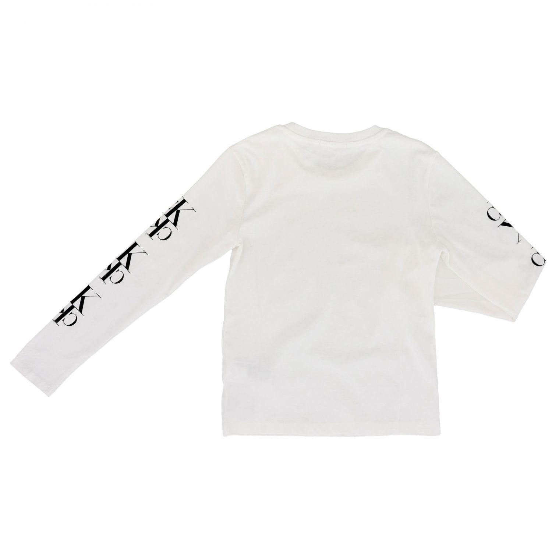 T-shirt Calvin Klein: T-shirt Calvin Klein a maniche lunghe con monogramma CK bianco 2