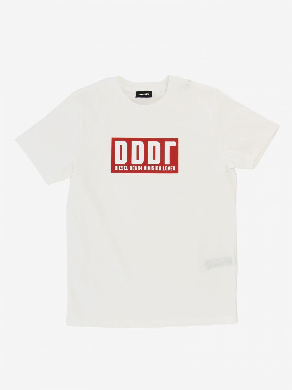 T-shirt Diesel: T-shirt Diesel a maniche corte con stampa logo bianco 1