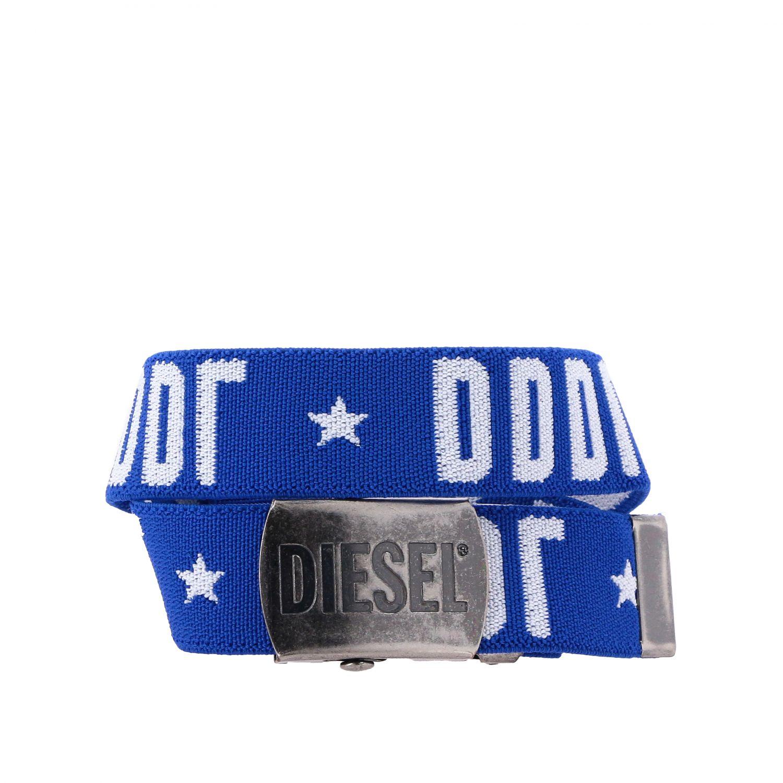 Diesel 金属扣logo装饰帆布腰带 蓝色 1