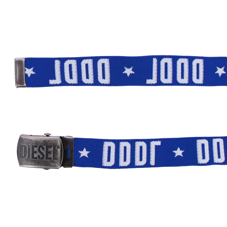 Diesel 金属扣logo装饰帆布腰带 蓝色 2