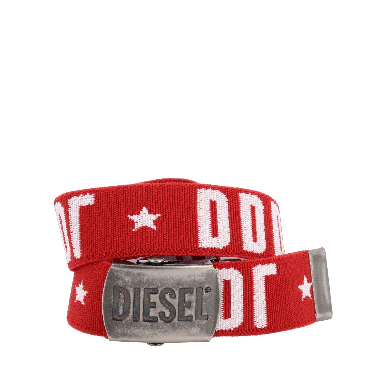 Diesel 金属扣logo装饰帆布腰带 红色 1