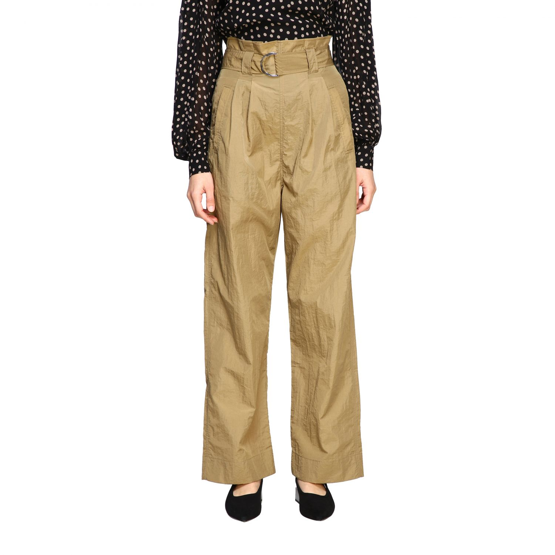 Pantalone Ganni ampio con cinta beige 1