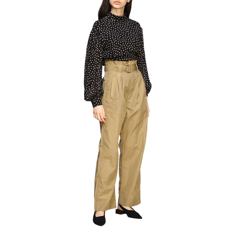 Pantalone Ganni ampio con cinta beige 2