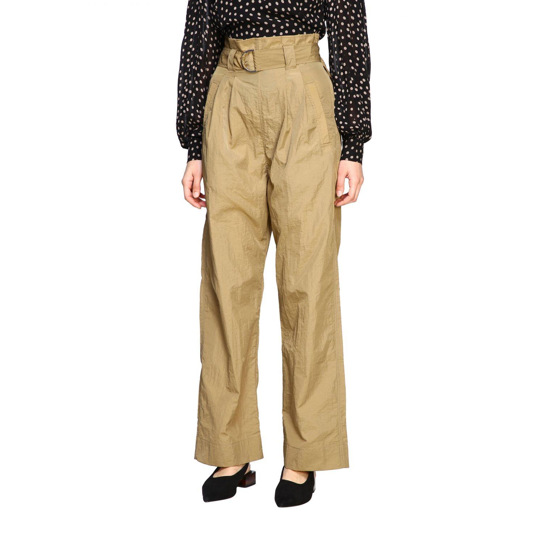 Pantalone Ganni ampio con cinta beige 4