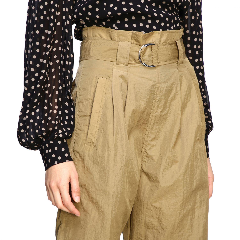Pantalone Ganni ampio con cinta beige 5