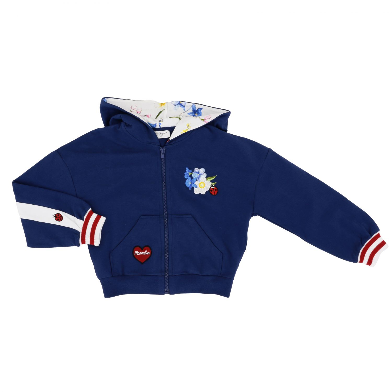 Sweat Monnalisa avec capuche et zip avec bandes bleu 1