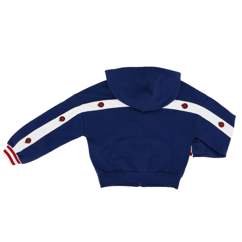 Sweat Monnalisa avec capuche et zip avec bandes bleu 2