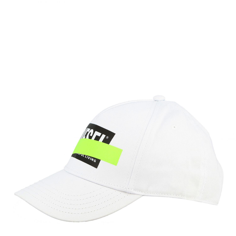 Cappello Diesel stile baseball con stampa logo bianco 1