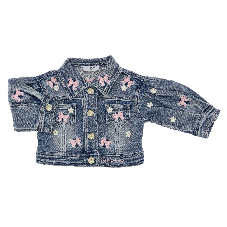 Monnalisa Baby denim jacket with embroidery denim 1