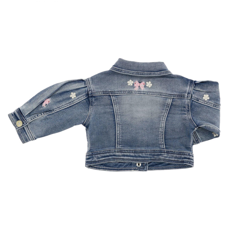 Monnalisa Baby denim jacket with embroidery denim 2